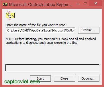 Các lỗi thông dụng trên mail Outlook